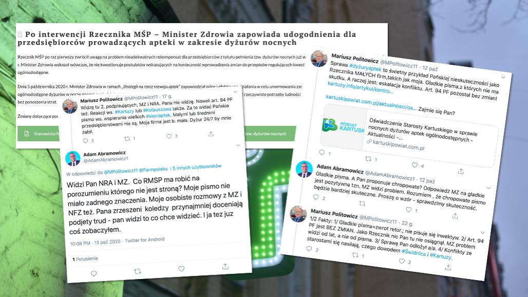 Rzecznik MŚP uważa, że to po jego piśmie sprzed roku Ministerstwo Zdrowia podjęła działania w sprawie dyżurów aptek (fot. Twitter)