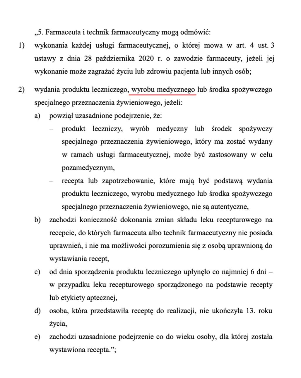 Fragment ustawy o zawodzie farmaceuty budzący kontrowersje