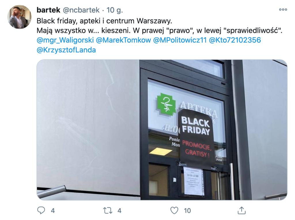 Zdjęcie jednej z warszawskich aptek opublikowane na Twitterze
