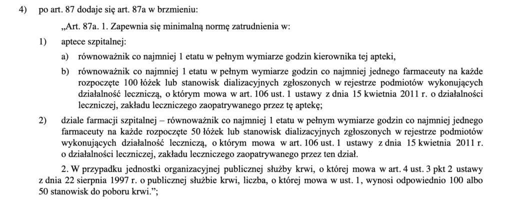 Fragment ustawy o zawodzie farmaceuty